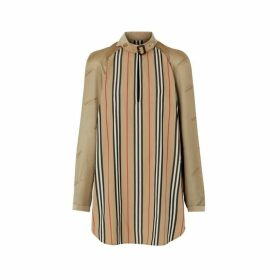Burberry Cut-out Detail Icon Stripe Silk Oversized Shirt