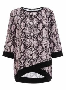 Womens *Quiz Multi Colour Snake Print Top- Pink, Pink