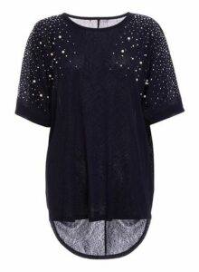 Womens *Quiz Navy Embellished Batwing Top, Navy