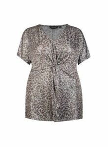 Womens **Dp Curve Silver Animal Print Knot Top, Silver