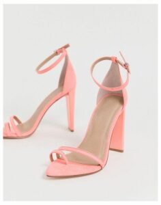 ASOS DESIGN Harper barely there block heeled sandals in pink