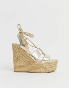 Office Hula Hula gold tie up espadrille wedges