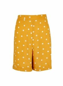 Womens Tall Yellow Spot Print Shorts - Orange, Orange