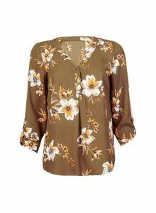 Womens Khaki Floral Print Button Roll Sleeve Shirt, Khaki