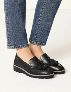 M&S Collection Leather Flatform Cleat Sole Tassel Loafers