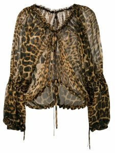 Saint Laurent leopard print chiffon blouse - Brown