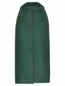 pushBUTTON high-waisted check print cotton-blend skirt - Green