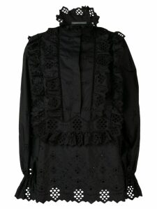 Alberta Ferretti embroidered ruffled front bib blouse - Black
