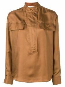 Cédric Charlier mandarin collar shirt - Brown