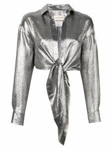 Alexandre Vauthier tie knot cropped shirt - Metallic