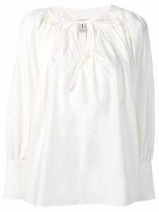 L'Autre Chose tie neck georgette blouse - White