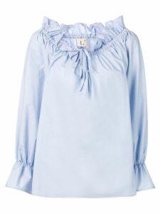 L'Autre Chose drawstring poplin blouse - Blue