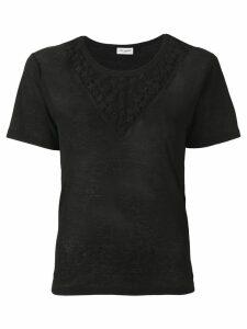Saint Laurent star embroidered T-shirt - 1000 BLACK