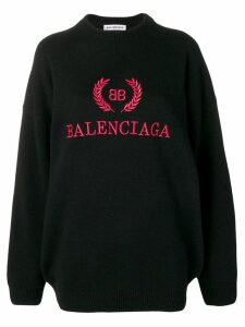 Balenciaga logo embroidered jumper - Black