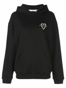 Givenchy heart embroidered logo hoodie - Black