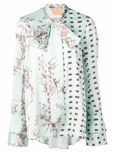 Ssheena pussy bow printed blouse - Green