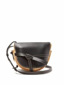 Loewe - Gate Small Leather And Raffia Cross-body Bag - Womens - Black Multi