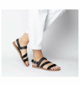 Office Sweet Heart- Asymmetric Strap Sandal BLACK LEATHER MIX