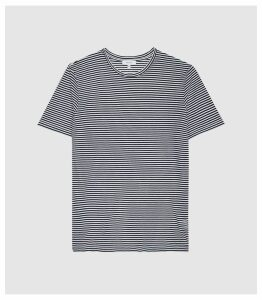 Reiss Surbiton - Striped Crew Neck T-shirt in Navy/white, Mens, Size XXL