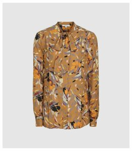 Reiss Elisa - Printed Blouse in Gold, Womens, Size 14