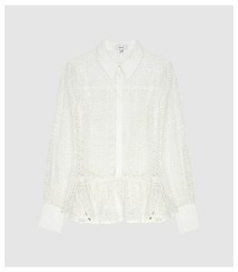 Reiss Betty - Broderie Anglaise Shirt in White, Womens, Size 16