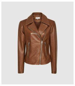 Reiss Blair - Leather Biker Jacket in Tan, Womens, Size 14