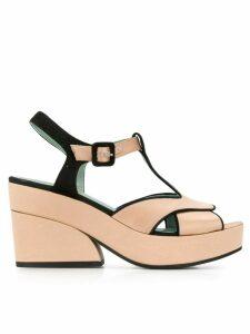 Paola D'Arcano bicolour platform sandals - NEUTRALS