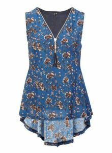 Womens Izabel London Blue Floral Print Zip Peplum Top, Blue