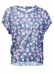 Womens *Izabel London Navy Ditsy Floral Print Blouse, Navy