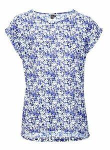 Womens *Izabel London Navy Floral Print T-Shirt, Navy