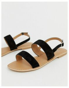 Park Lane leather flat sandal-Black