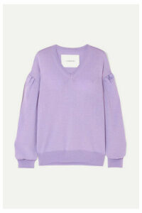 Pushbutton - Cutout Wool-blend Sweater - Purple