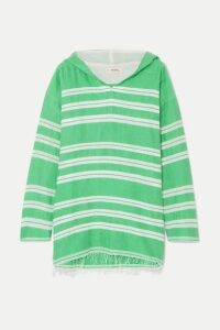 LemLem - + Net Sustain Doro Frayed Striped Cotton-blend Gauze Hoodie - Light green