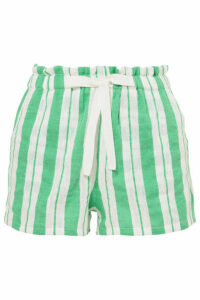 LemLem - + Net Sustain Doro Striped Cotton-blend Gauze Shorts - Light green