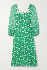 SAINT LAURENT - Pussy-bow Printed Silk Blouse - Green
