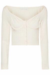 Fleur du Mal - Cropped Button-embellished Ribbed-knit Top - Cream