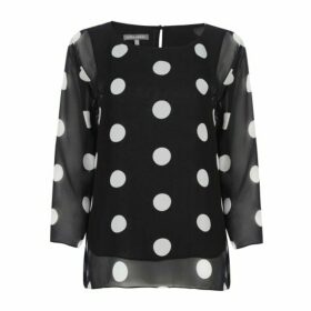 Spot Print Double Layer Blouse