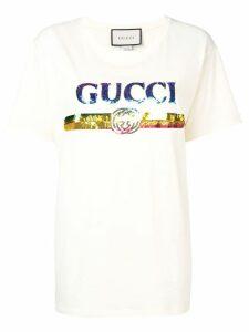 Gucci logo sequinned T-shirt - NEUTRALS