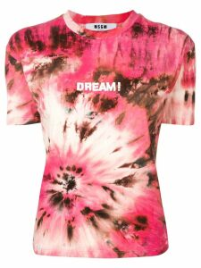 MSGM Dream print tie-dye T-shirt - Pink