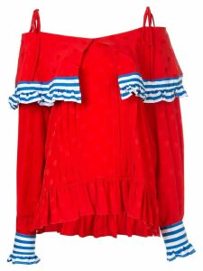 MSGM off the shoulder blouse - Red