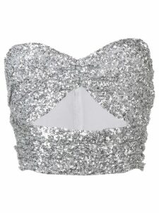 The Attico sequin bandeau crop top - SILVER