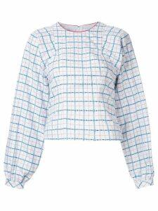 CK Calvin Klein prairie check jacquard top - White