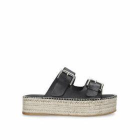 Carvela Kleverer - Black Leather Flatform Sliders