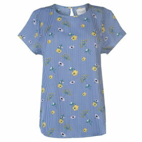 Rock and Rags All Over Pattern Blouse Ladies - Blue/Yellow S/S