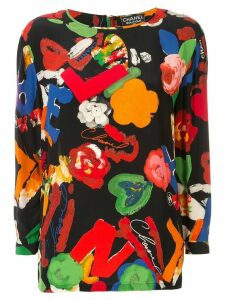 Chanel Pre-Owned floral printed top - Black