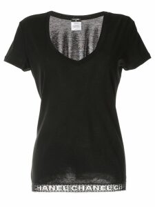 Chanel Pre-Owned logo hem T-shirt - Black