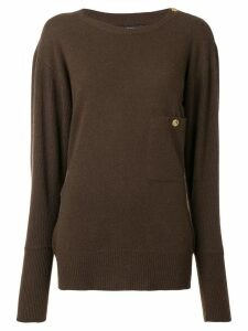 Chanel Pre-Owned 1980's buttoned shoulder slouchy jumper - Brown