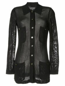 Chanel Pre-Owned CC logo button mesh cardigan - Black