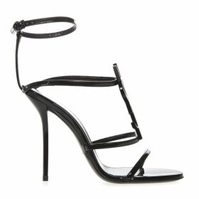 Saint Laurent Black Cassandra Patent Leather Sandals