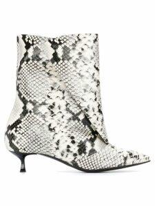 MSGM snakeskin print boots - White